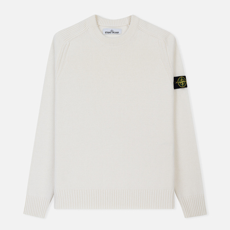 Мужской свитер Stone Island Lambswool Ribbed Crew Neck Natural White