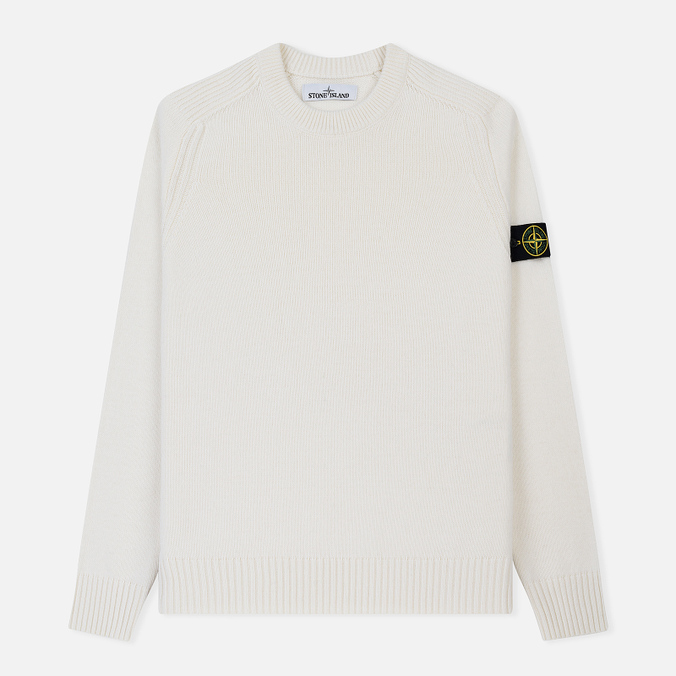 Мужской свитер Stone Island Lambswool Ribbed Crew Neck Natural White