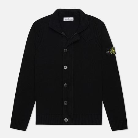 Мужской свитер Stone Island Lambswool Zip Button Panel Black