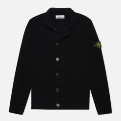 Мужской свитер Stone Island Lambswool Zip Button Panel Black