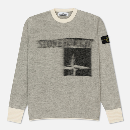 Мужской свитер Stone Island Monochrome Striped Faded White