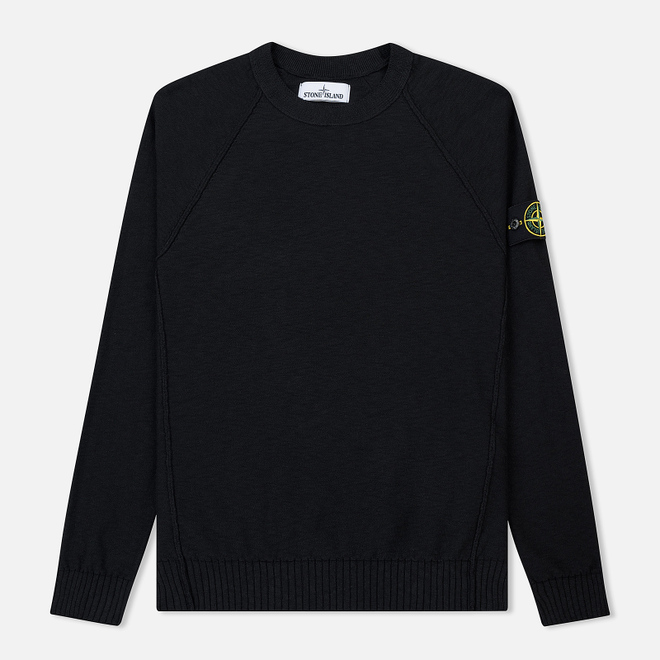 Мужской свитер Stone Island Ribbed Collar Horizontal Garment Dye Black