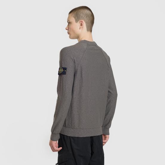 Мужской свитер Stone Island Ribbed Collar Horizontal Garment Dye Blue Grey