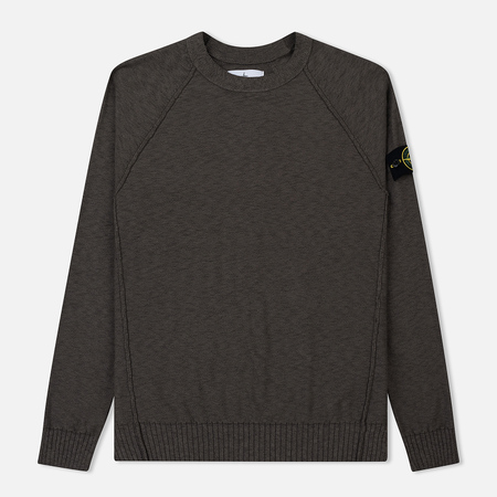 Мужской свитер Stone Island Ribbed Collar Horizontal Garment Dye Blue Grey