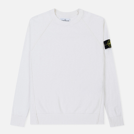 Мужской свитер Stone Island Ribbed Collar Horizontal Garment Dye White