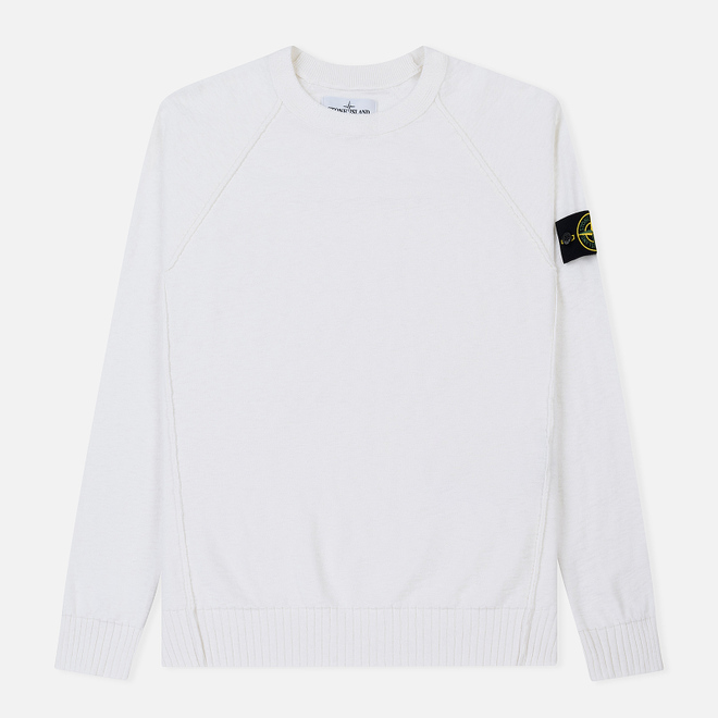 Мужской свитер Stone Island Ribbed Collar Horizontal Garment Dye White