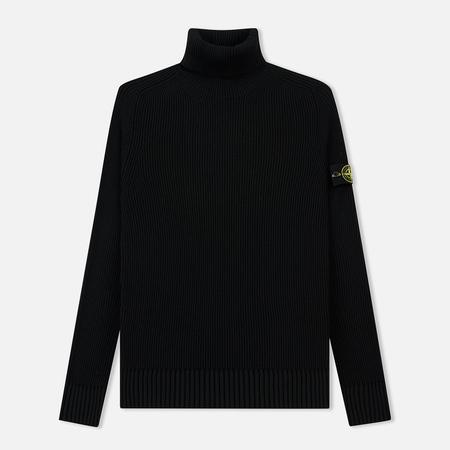 Мужской свитер Stone Island Ribbed Light Wool Roll Neck Black