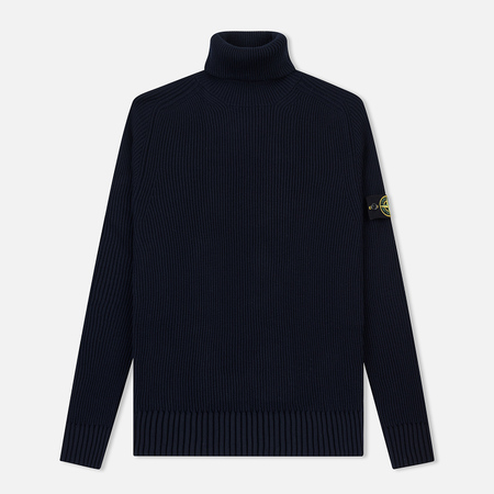 Мужской свитер Stone Island Ribbed Light Wool Roll Neck Navy Blue