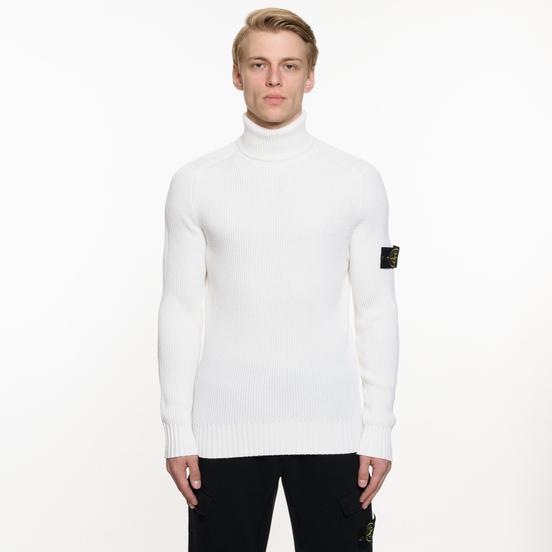 Мужской свитер Stone Island Ribbed Light Wool Roll Neck White