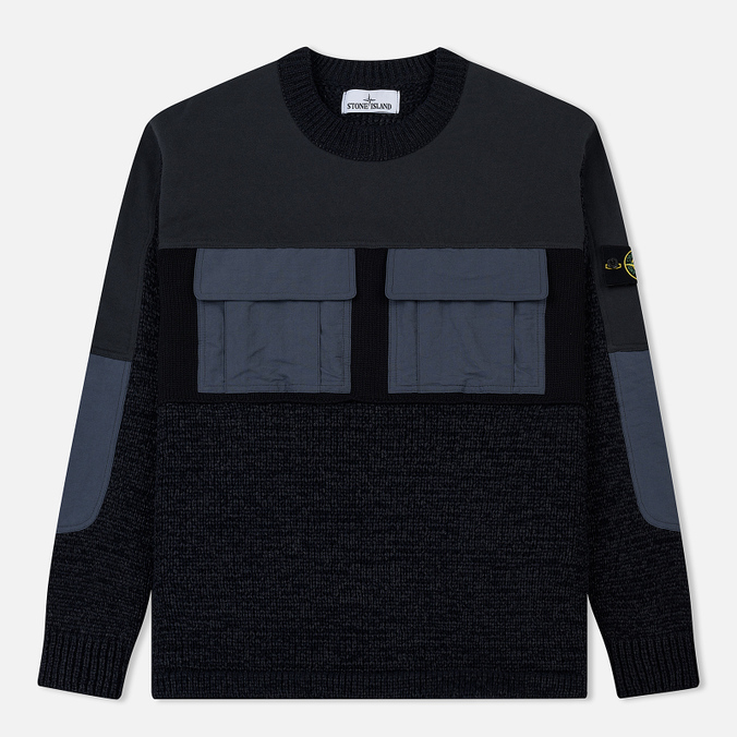 Мужской свитер Stone Island Round Neck Nylon Webbing Black