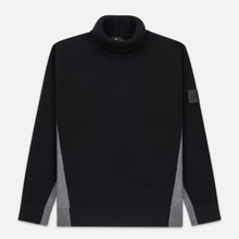 Мужской свитер Stone Island Shadow Project Bicolor Stretch Wool And Alpaca Blend Charcoal фото- 0