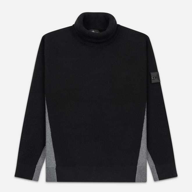 Мужской свитер Stone Island Shadow Project Bicolor Stretch Wool And Alpaca Blend Charcoal