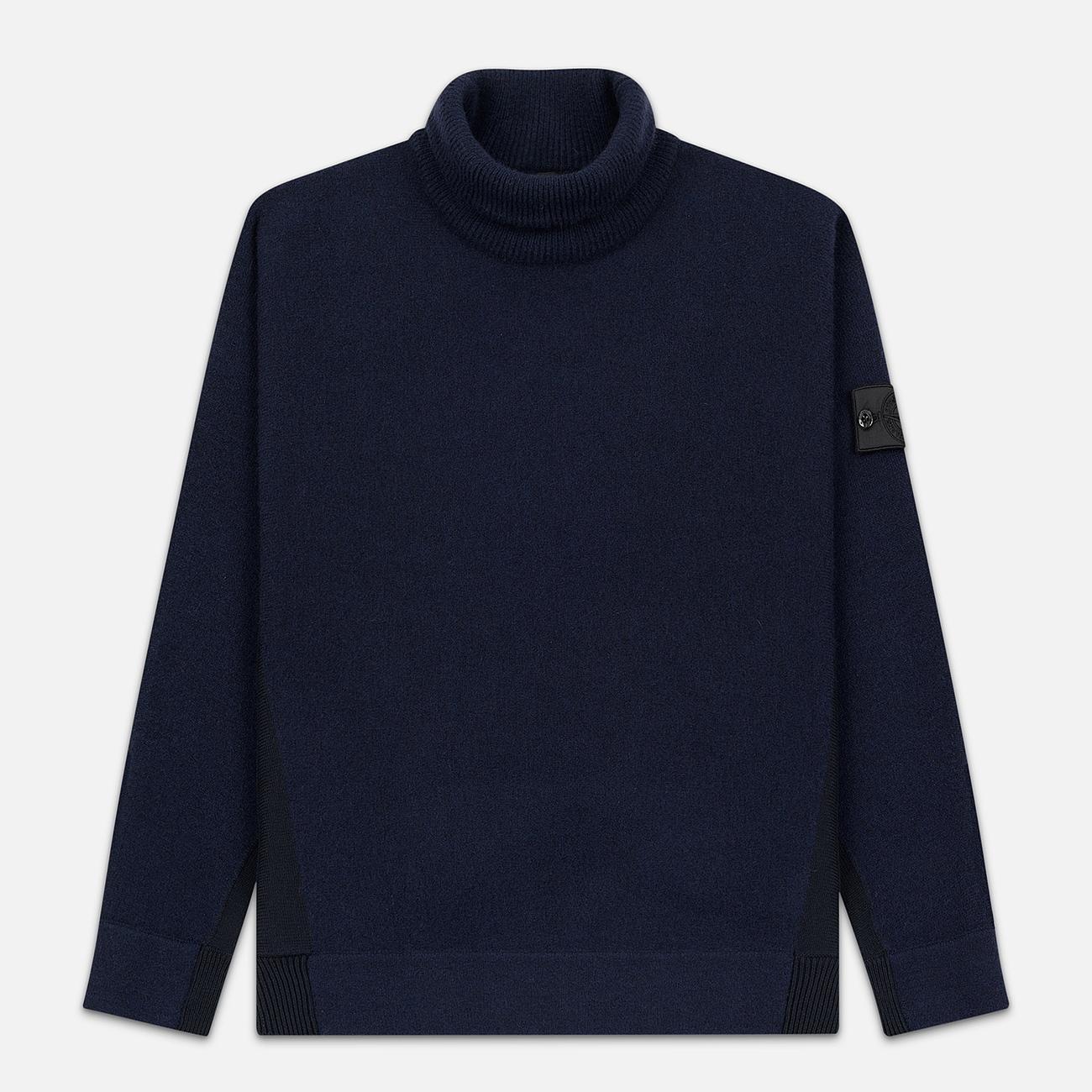 Мужской свитер Stone Island Shadow Project Bicolor Stretch Wool And Alpaca Blend Navy