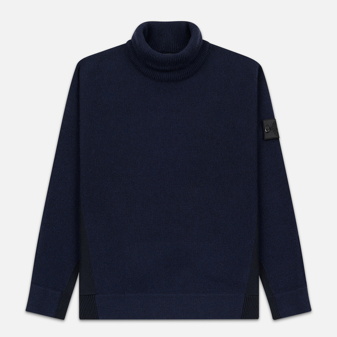 Мужской свитер Stone Island Shadow Project Bicolor Stretch Wool And Alpaca Blend Navy