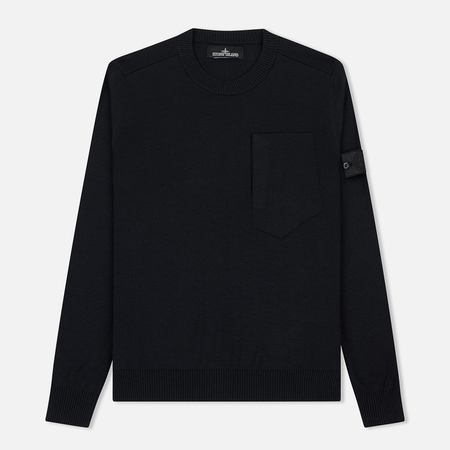 Мужской свитер Stone Island Shadow Project Catch Pocket Crew Neck Virgin Wool/Silk Blend Black