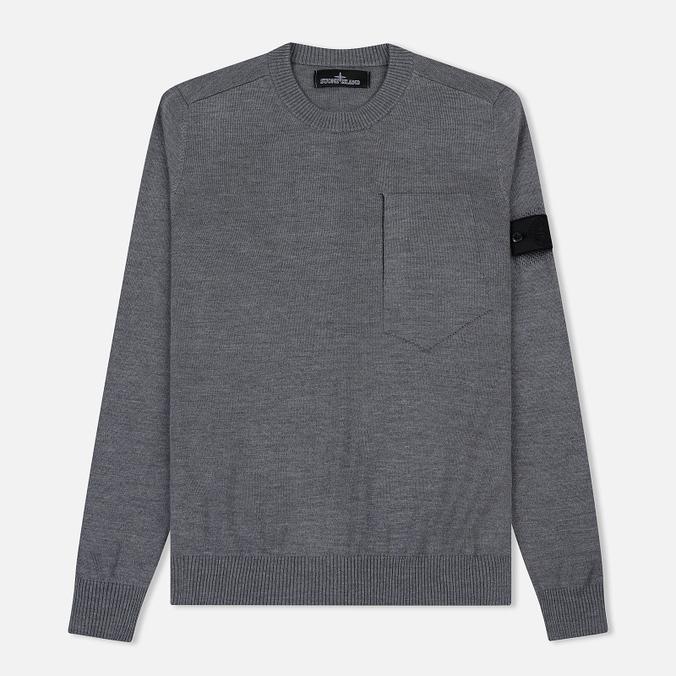 Мужской свитер Stone Island Shadow Project Catch Pocket Crew Neck Virgin Wool/Silk Blend Dark Grey