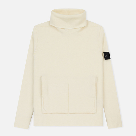 Мужской свитер Stone Island Shadow Project Engineered Mock Neck Strata Pockets Natural White