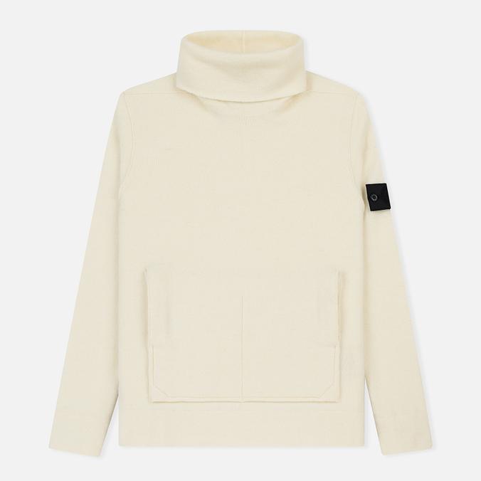 Мужской свитер Stone Island Shadow Project Engineered Mock Neck Strata Pockets Natural White