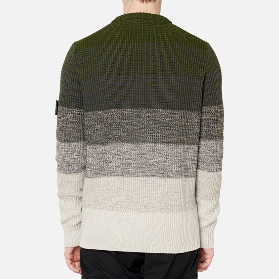 Мужской свитер Stone Island Shadow Project Gradient Effect Garter Stitch Stripes Olive Green