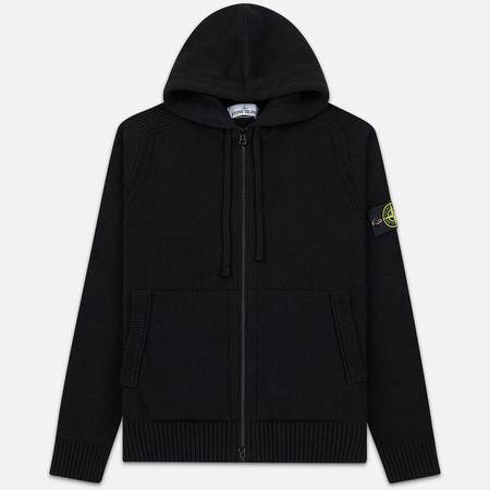 Мужской свитер Stone Island Wool Cardigan Hoodie Black