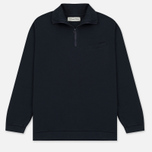 Мужской свитер Universal Works 1/4 Zip Sweat Felpa Diagonal Navy фото- 0