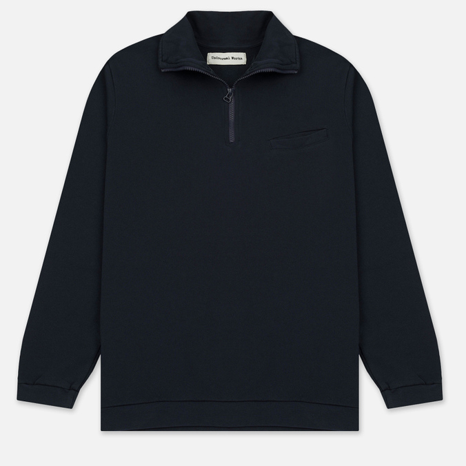 Мужской свитер Universal Works 1/4 Zip Sweat Felpa Diagonal Navy