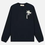 Мужской свитер Universal Works Embroidered Raglan Crew Loopback Navy фото- 0