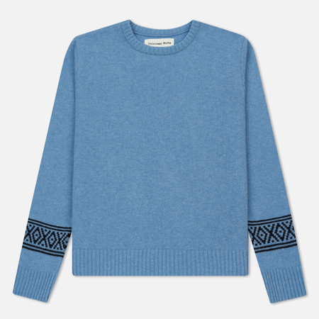 Мужской свитер Universal Works Faroe Classic Crew Soft Wool Niagara Blue