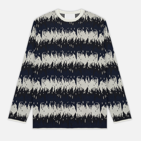 Мужской свитер White Mountaineering Wave Camouflage Jacquard Round Neck Knit Navy