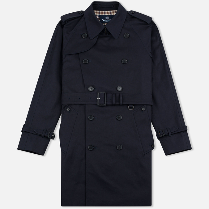Aquascutum Corby Double Breasted Men`s Trench Coat Navy
