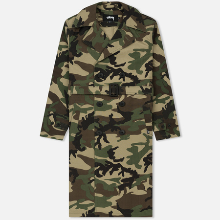Мужской тренчкот Stussy Double Breasted Camouflage