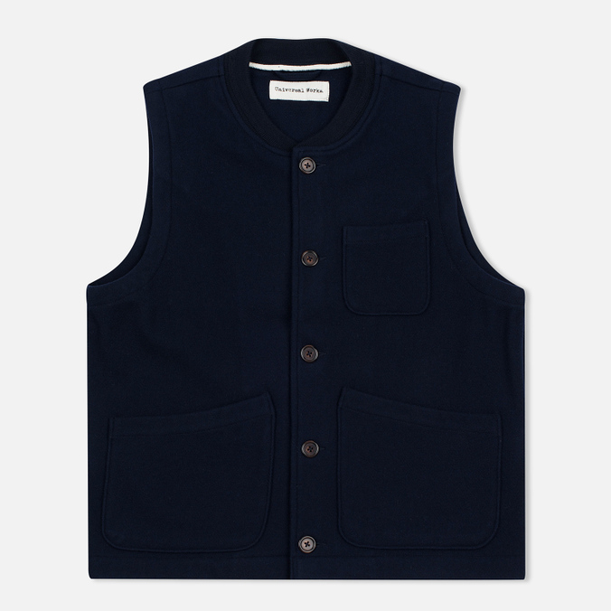 Universal Works Chore Wool Melton Men's Vest Navy