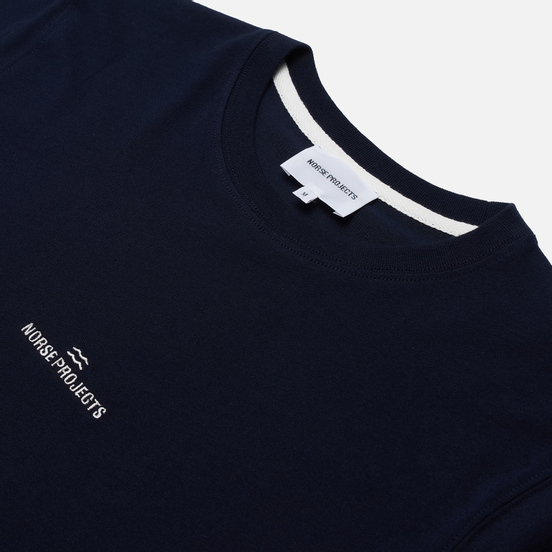 Мужская футболка Norse Projects Niels Norse Projects Wave Logo Dark Navy