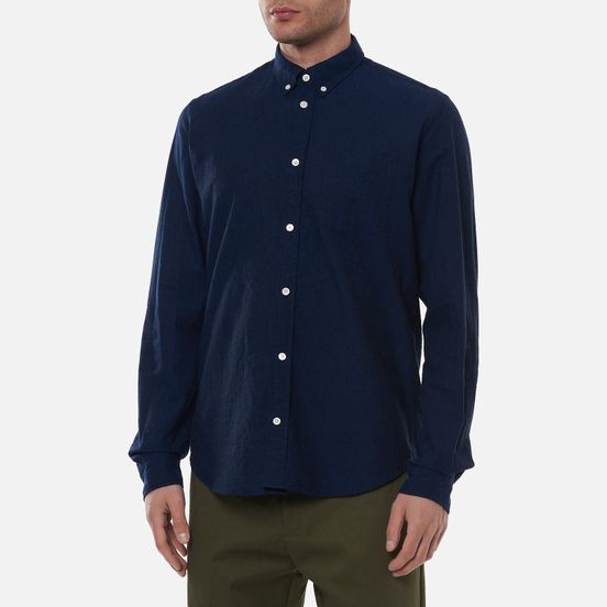 Мужская рубашка Norse Projects Osvald Button Down Cotton Linen Ultra Marine