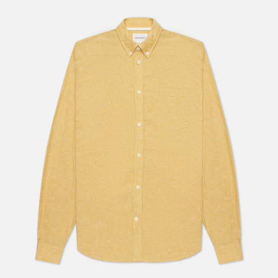 Мужская рубашка Norse Projects Osvald Button Down Cotton Linen Sunwashed Yellow