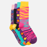 Комплект носков Happy Socks Pre Pack Electric Camo Black/Purple/Pink/Yellow фото- 1