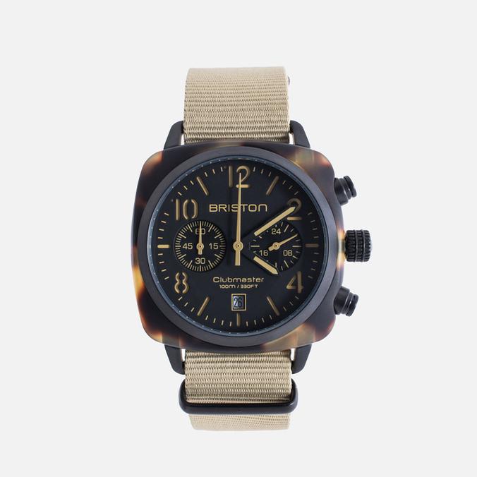 Briston Clubmaster Chrono Matte Watch Tortoise/Black/Khaki