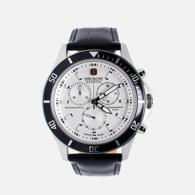 Мужские наручные часы Swiss Military Hanowa Navy Line Flagship Chrono Silver/Black