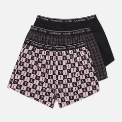 Комплект мужских трусов Calvin Klein Underwear 3-Pack Boxer Slim Fine Plaid/Black/Checker Logo