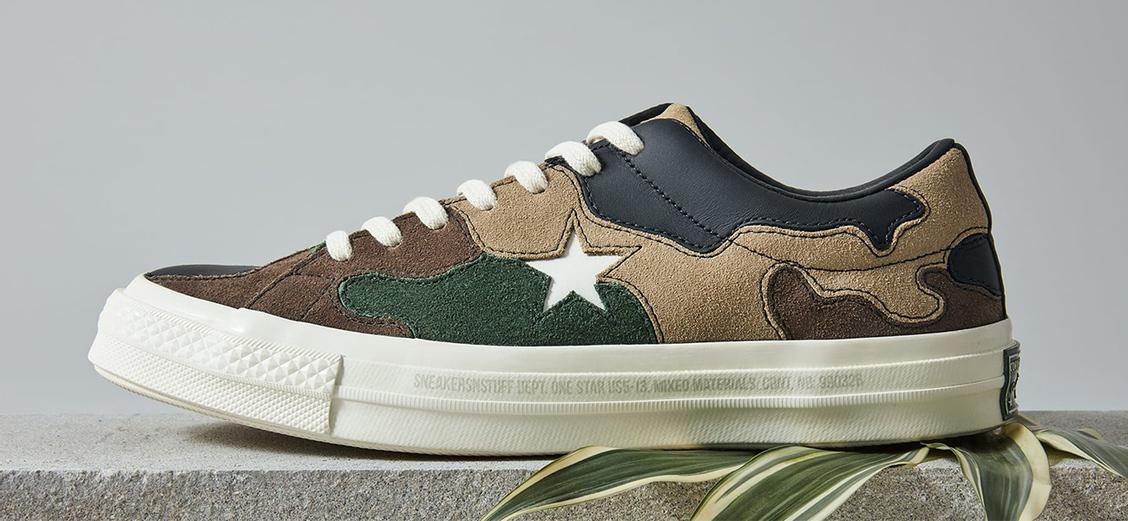 Converse × Sneakersnstuff One Star: лоскутный камуфляж
