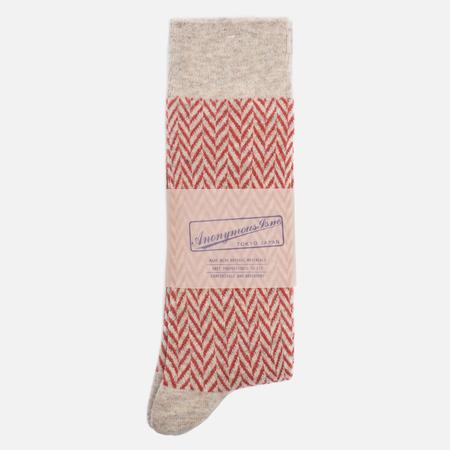 Носки Anonymous Ism Wool Herringbone Cream White/Red