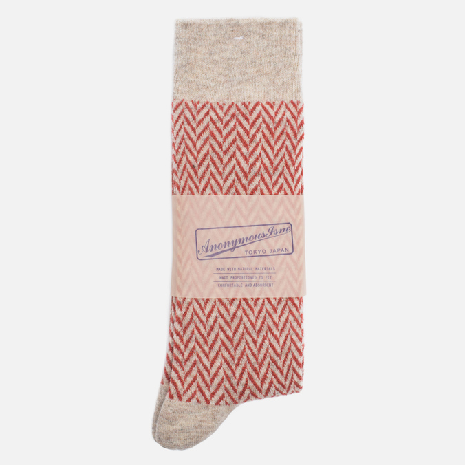 Носки Anonymous Ism Wool Herringbone Cream White/Red
