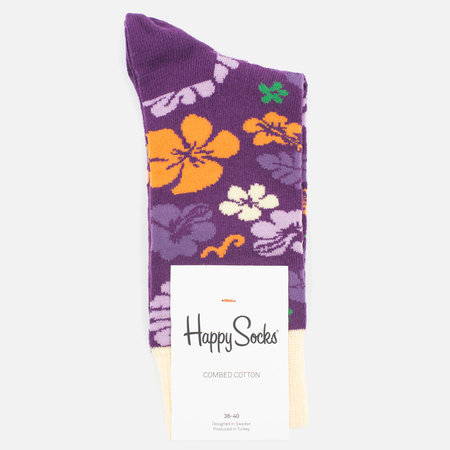 Happy Socks Hawaii Socks Purple/Cream