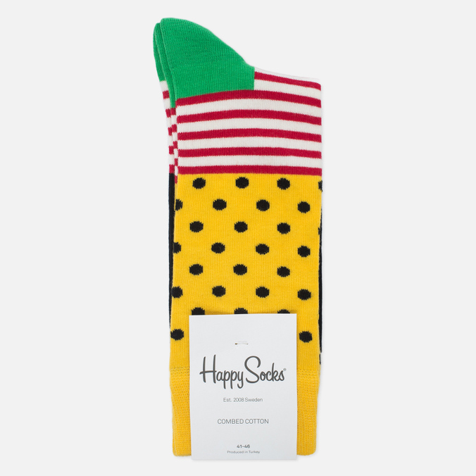 Носки Happy Socks Stripe Dot Black/Green/Red/White/Yellow