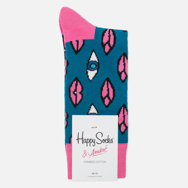 Носки Happy Socks x Mr Andre Lips & Eyes Limited Edition Blue/Pink/White