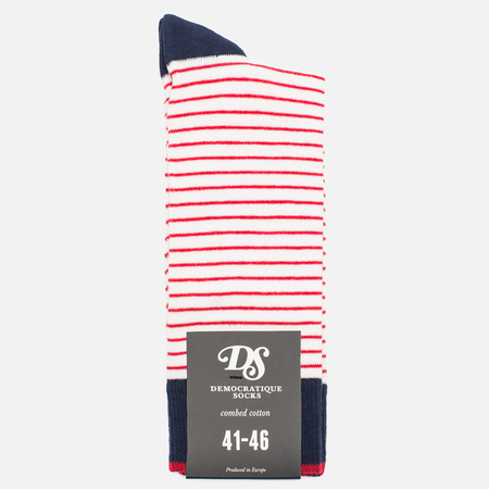 Мужские носки Democratique Socks Originals Mini Striper Broken White/Spring Red/Navy