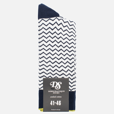 Мужские носки Democratique Socks Originals Ziggerzagger Navy/Broken White/Bright Yellow