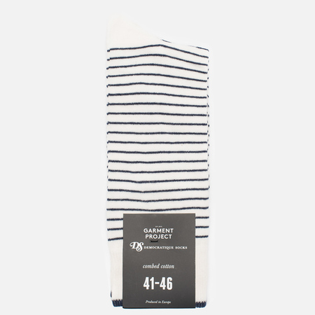 Мужские носки Democratique Socks x Garment Project Mini Striper Off White/Navy