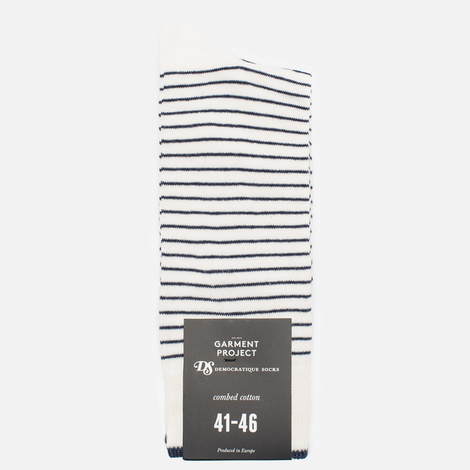 Носки Democratique Socks x Garment Project Mini Striper Off White/Navy