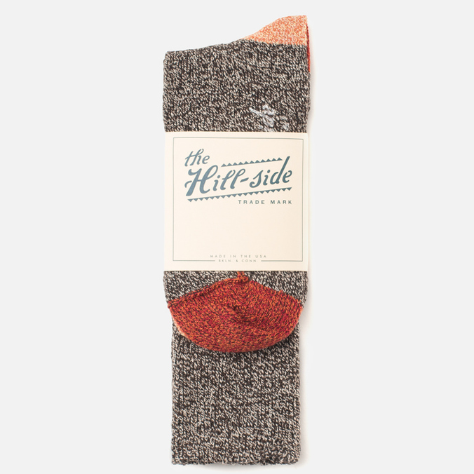 The Hill-Side SX2 Men's Socks Salt & Pepper/Red/Orange
